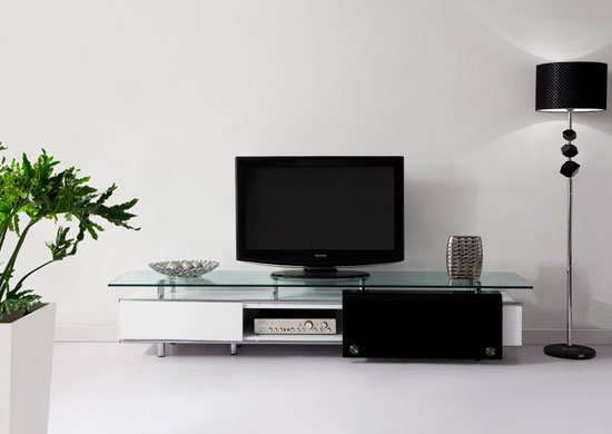 Oxygen'' Ultra Chic, Contemporary Glass TV Stand White
